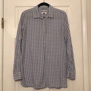 LOFT Gingham tunic half button up